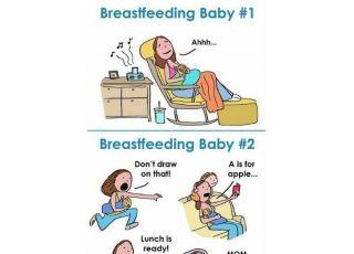 Gdy ma się dwoje dzieci, karmienie piersią wygląda właśnie tak?