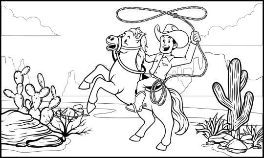 kolorowanka konie z kowbojem