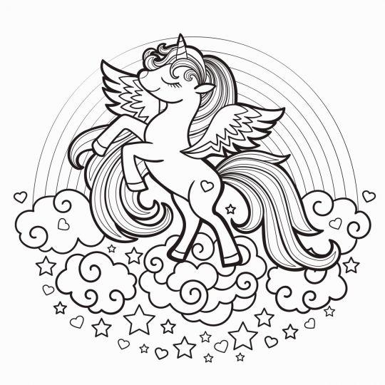kolorowanka konie jednorożec na chmurce