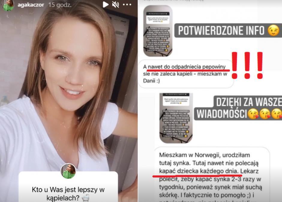 Agnieszka Kaczorowska pierwsza kąpiel
