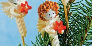 aniołki z makaronu, ozdoby świąteczne, ozdoby na Boże Narodzenie, aniołek z makaronu