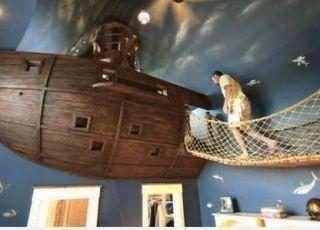 aranżacje pokoi, pokój dla dziecka, łóżko kapitana, łóżko łódź