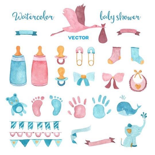 baby shower dekoracje do druku kolorowe