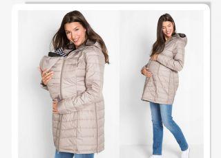 beżowy płaszcz ciążowy 2018/2019 ze wstawką niemowlęcą
