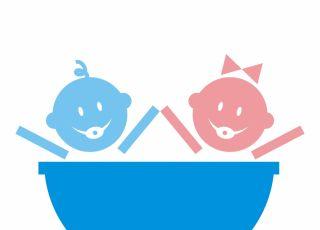 Bliźnięta w kąpieli – rysunek