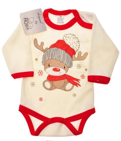 Świąteczne body dla niemowlaka z reniferem