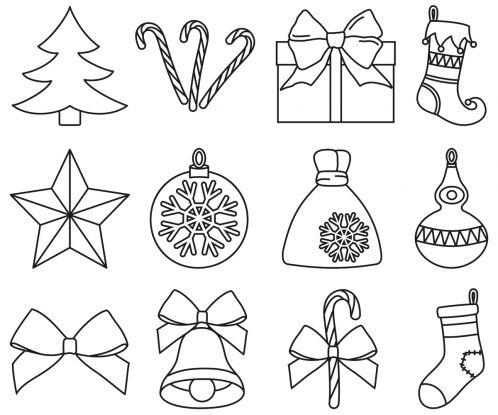 bombka kolorowanka - różne ozdoby świąteczne