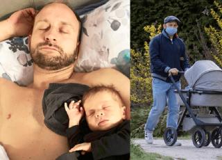 Borys Szyc na spacerze z synkiem