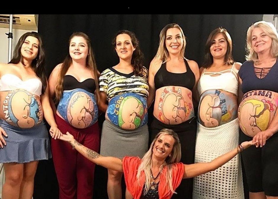 Brzuszki ciążowe pomalowane farbami do ciała
