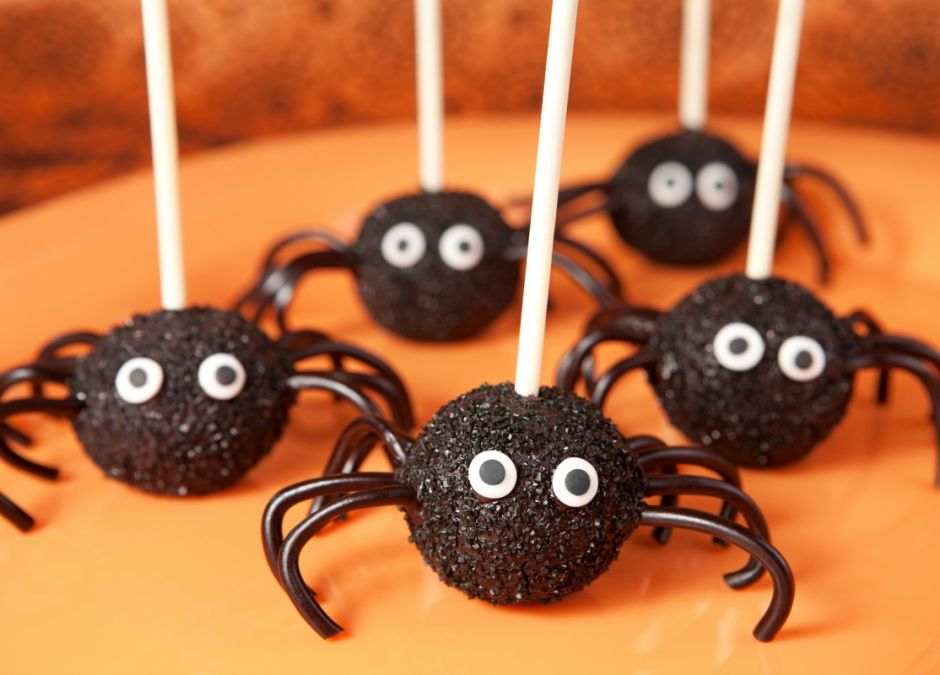 cakepops, pająki, lizaki, halloween