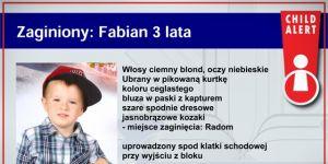 Child Alert - policja szuka uprowadzonego Fabiana