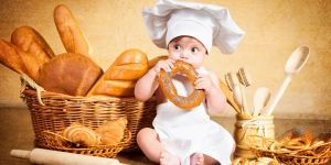 chleb, pieczywo, dziecko, kuchnia