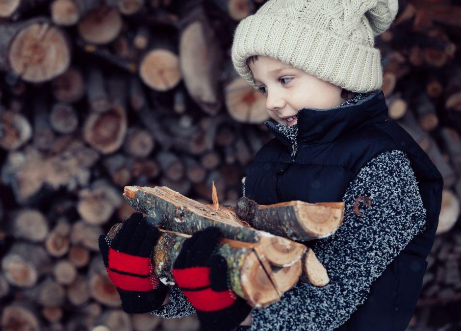 Chłopiec, który rąbie drewno