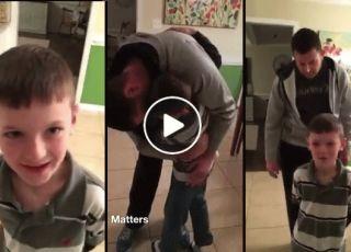 chłopiec płacze na widok taty