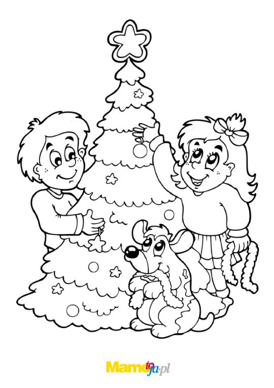 choinka kolorowanka: dzieci przy choince