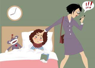 Chore dziecko, pracująca mama - wolne na dziecko