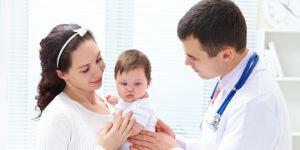 choroba, chore dziecko, lekarz, dziecko, mama