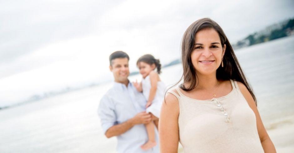 ciąża, kobieta, rodzina, wakacje, plaża