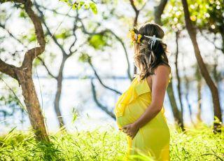 Ciąża, kobieta w ciąży, lato, łąka