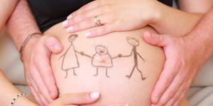 ciąża, rodzina, dziecko, rysunek na brzuchu