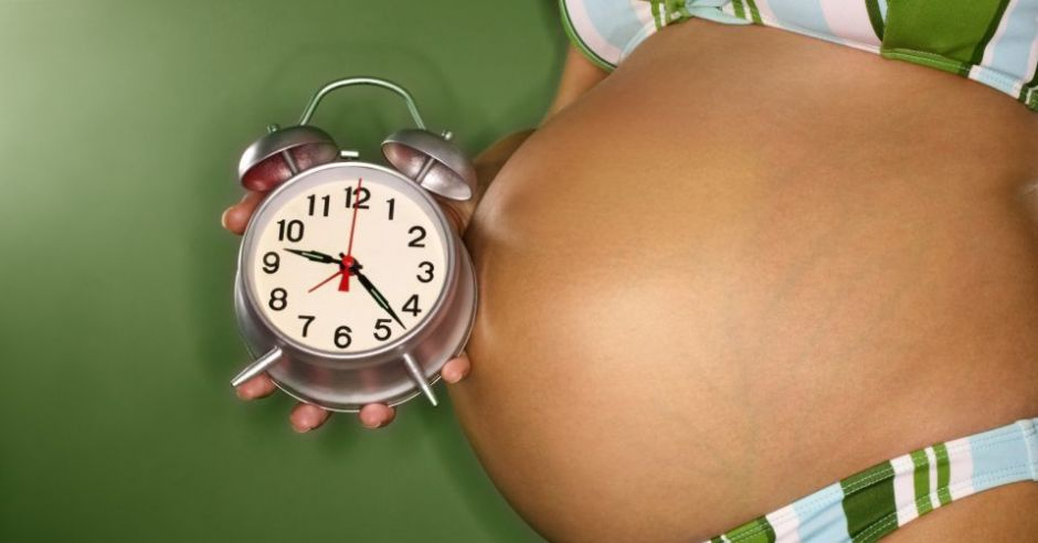 ciąża, zegar, brzuch