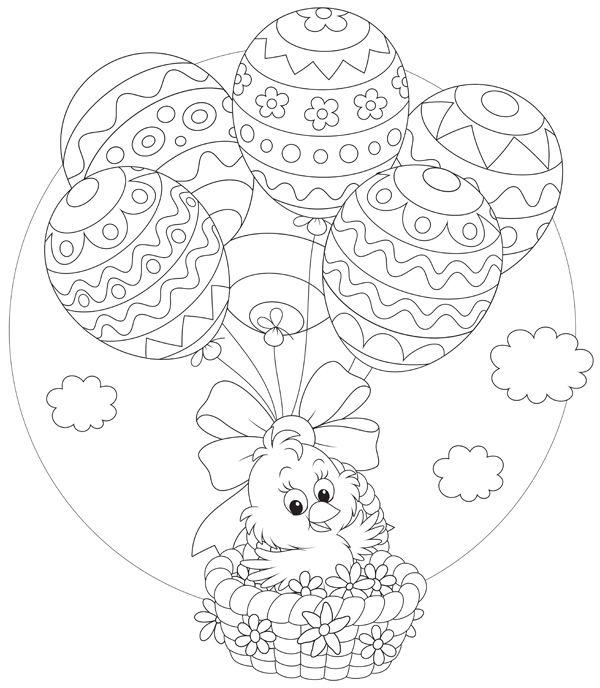 wielkanoc kolorowanki  koszyk- balon z pisanek
