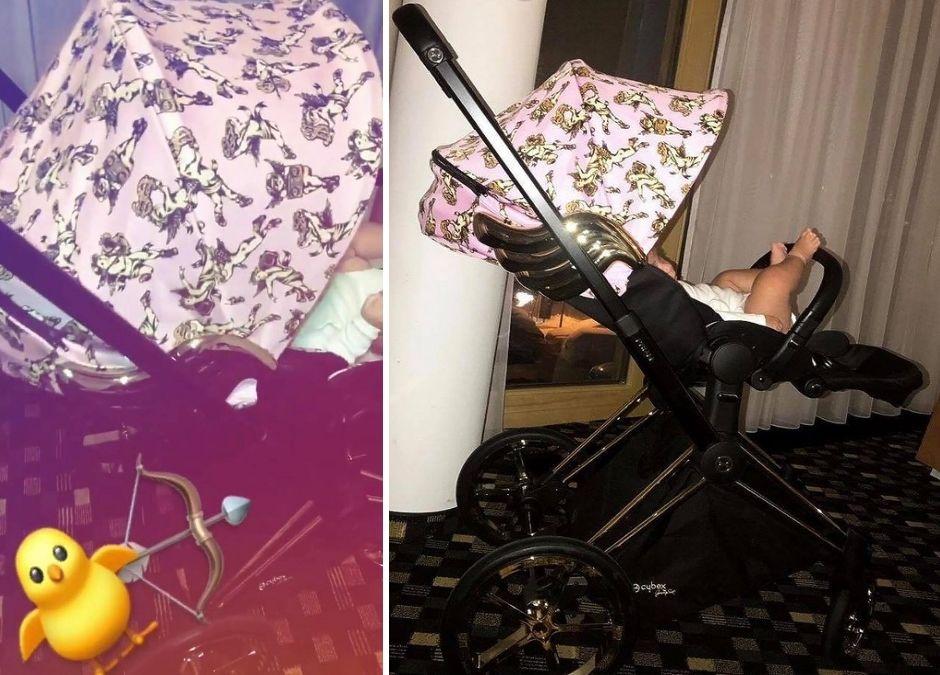 Najnowszy wózek córeczki Natalii Siwiec z cherubinkami na budce