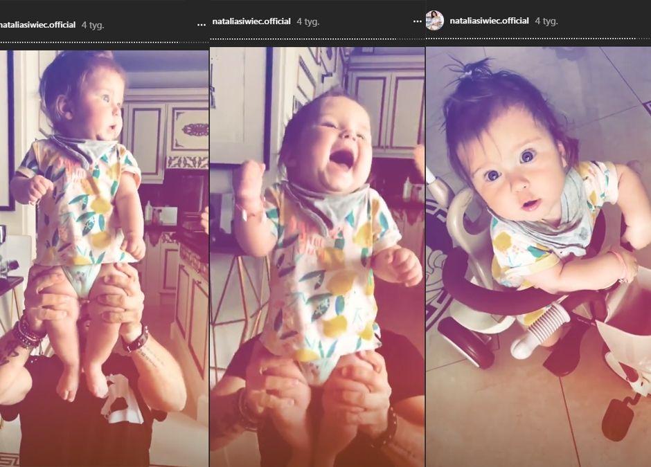 córeczka Siwiec Mia bawi się z tatą i ma koszulkę z H&M