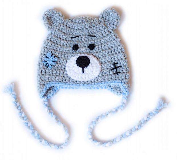 czapeczka dla niemowlaka miś