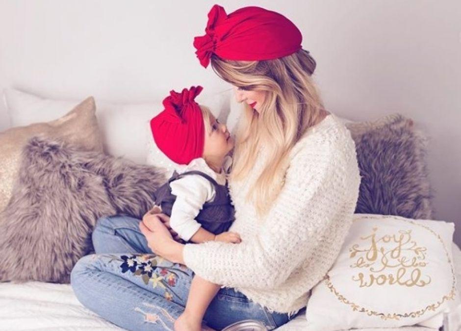czerwone turbany dla mamy i dla córeczki HIT