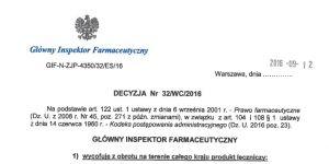 Decyzja o wycofaniu ze sprzedaży popularnego leku na alergię