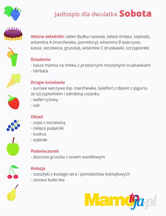 jadłospis dla dwulatka na cały tydzień (sobota)