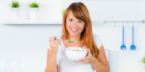 dieta, kobieta, śniadanie, muesli