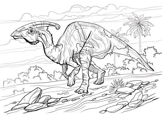 dinozaury kolorowanka parazurolof