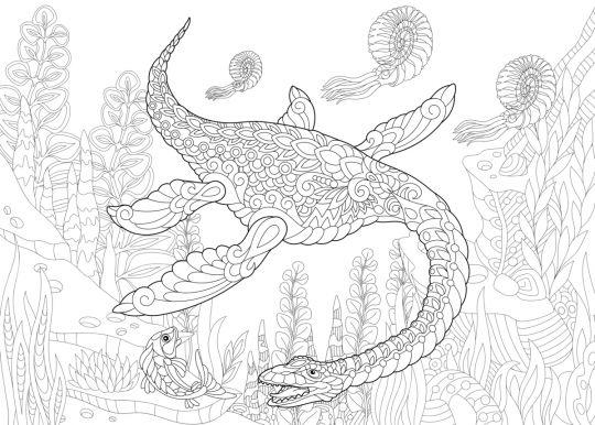 dinozaury kolorowanka z plezjozaurem