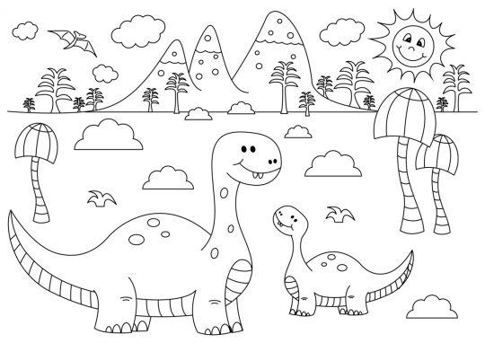 dinozaury kolorowanka 2 dinozaury dla maluchow