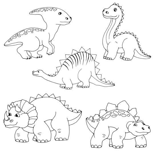 dinozaury kolorowanki 5 dinozaurów dla młodszych dzieci