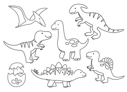 dinozaury kolorowanka 7 dinozaurów dla maluchów