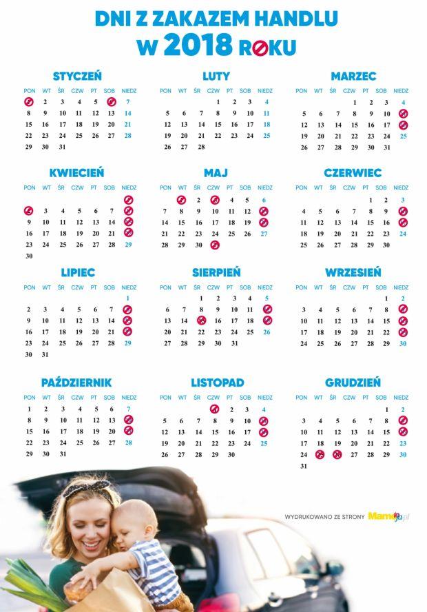 Dni z zakazem handlu 2018 - kalendarz do wydruku