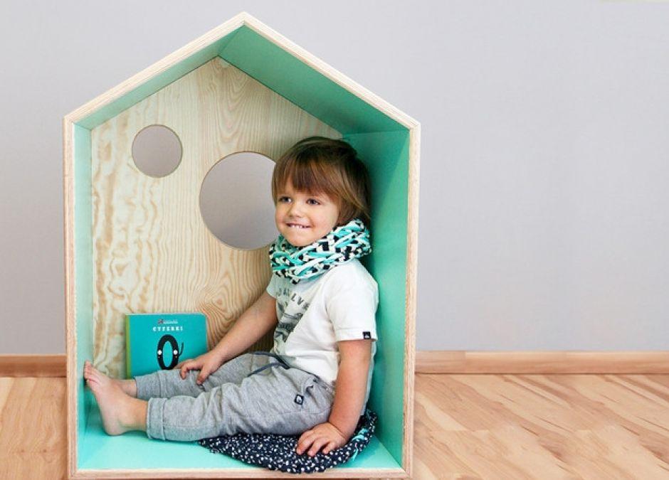 Domki dla dzieci, drewniany domek półka