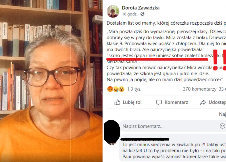 Dorota Zawadzka krytykuje słowa nauczycielki