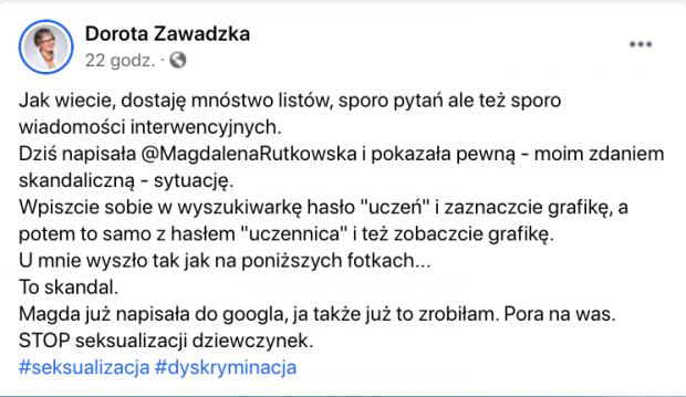 """Dorota Zawadzka oburzona wynikami wyszukiwania hasła """"uczennica"""""""