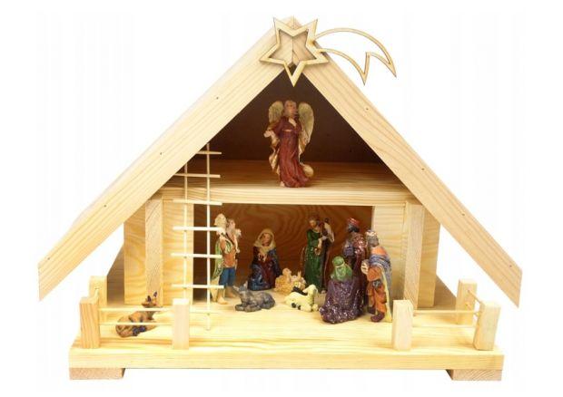 szopki bożonarodzeniowe z drewna podświetlane