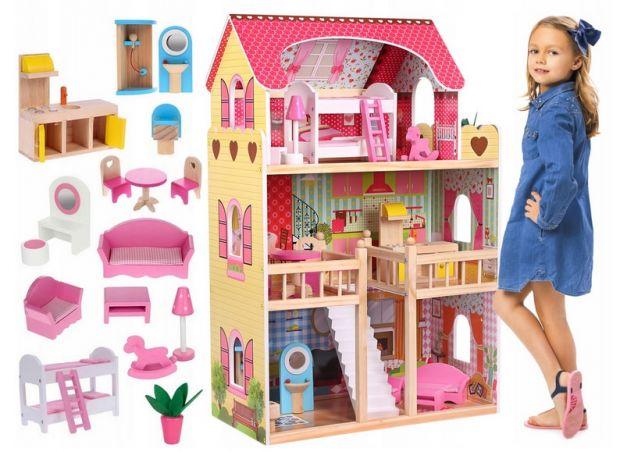 drewniany domek dla lalek duży z meblami