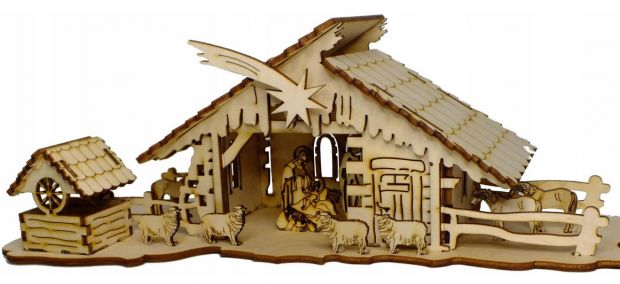 szopki bożonarodzeniowe duża drewniana