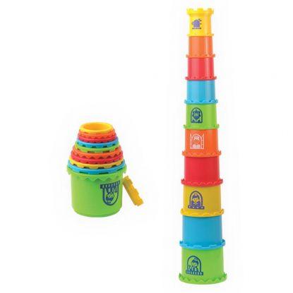 Kubeczkowa wieża dla niemowlaka