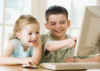 dzieci, komputer, edukacja, nauka, chłopiec, dziewczynka