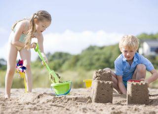 dzieci, wakacje, morze, plaża