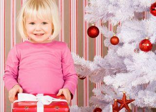 dziecko, choinka, święta, prezent