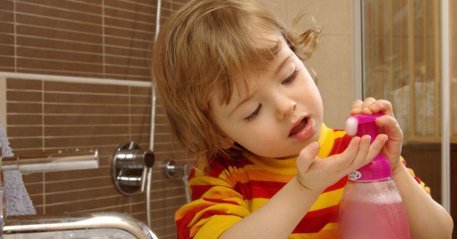 dziecko, czystość, mydło, łazienka